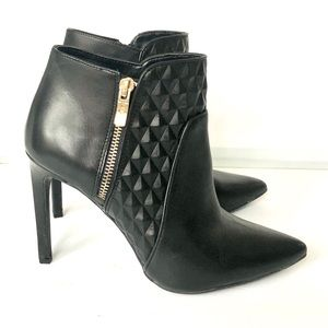 BCBGGeneration leather booties with gold zipper
